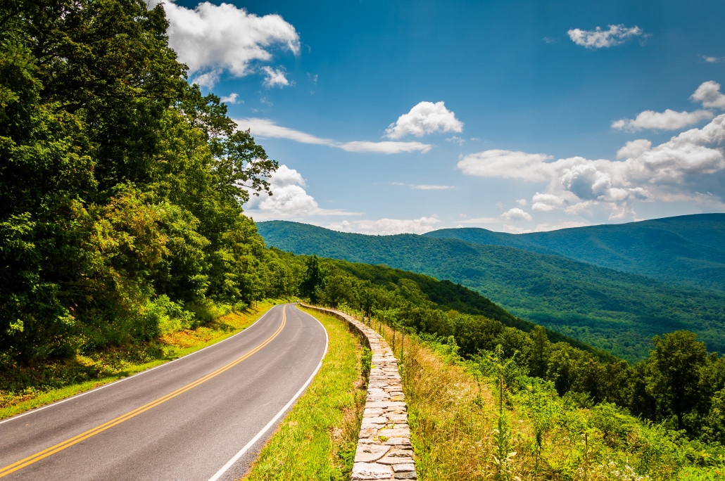 Skyline Drive And View Of The Blue Ridge Mountains, In
