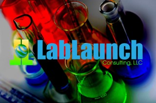 Scientific laboratory glassware filled with colored liquid ready for chemical experiment in a science research lab